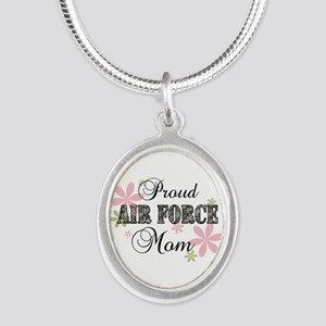 Air Force Mom [fl camo] Silver Oval Necklace